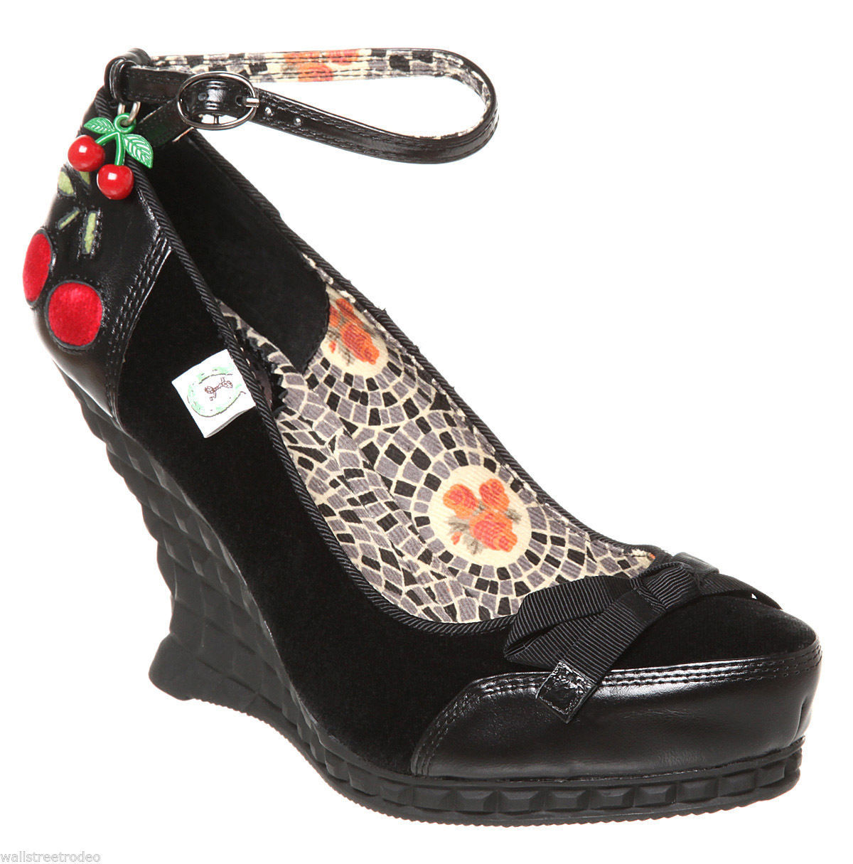 Miss L Fire Cherry Wedge rockabilly ankle wrap heels shoes pin-up 6 UK3.5 36 VLV