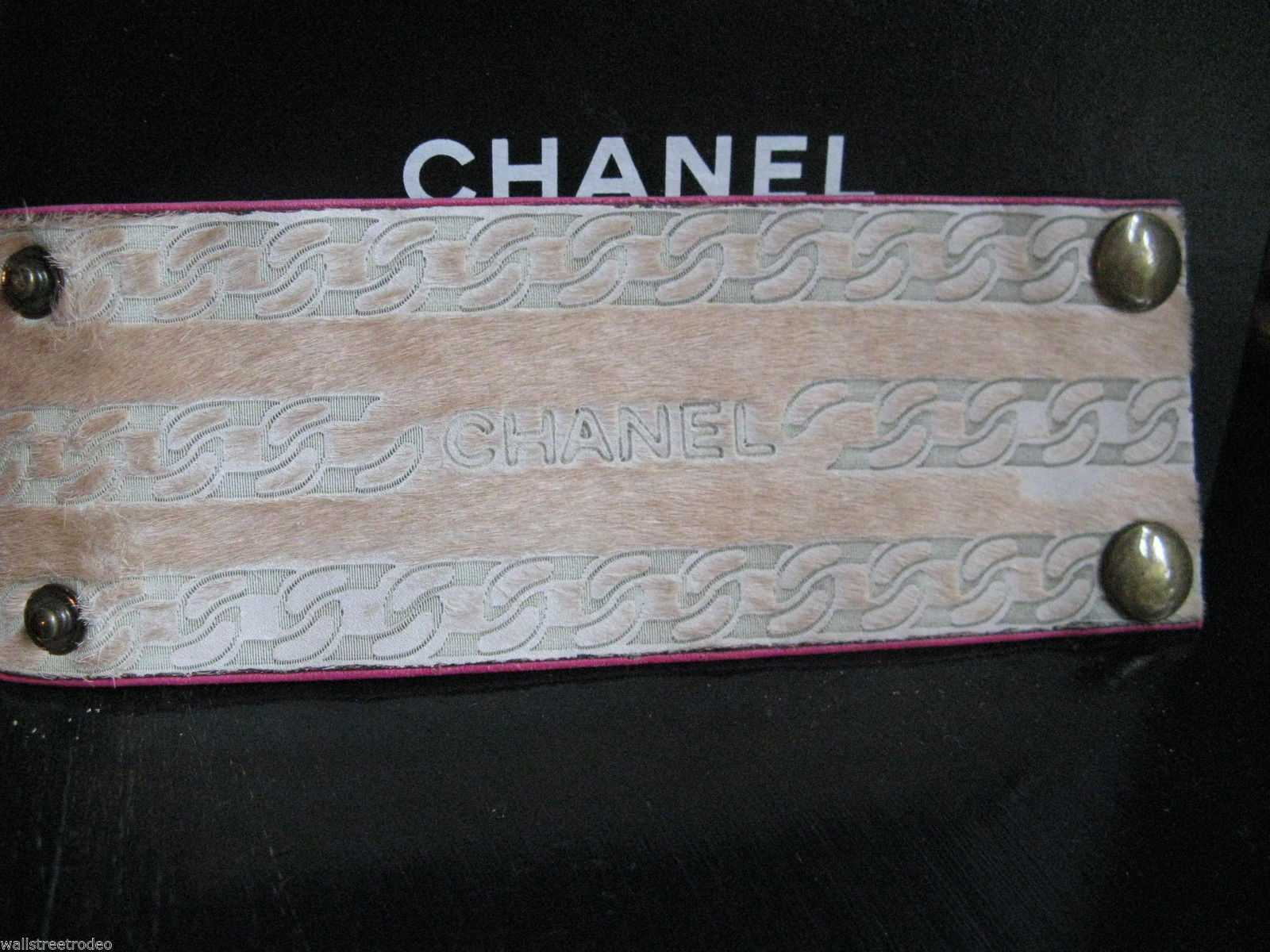 Vintage Chanel pony fur leather wristband cuff small size punk rock