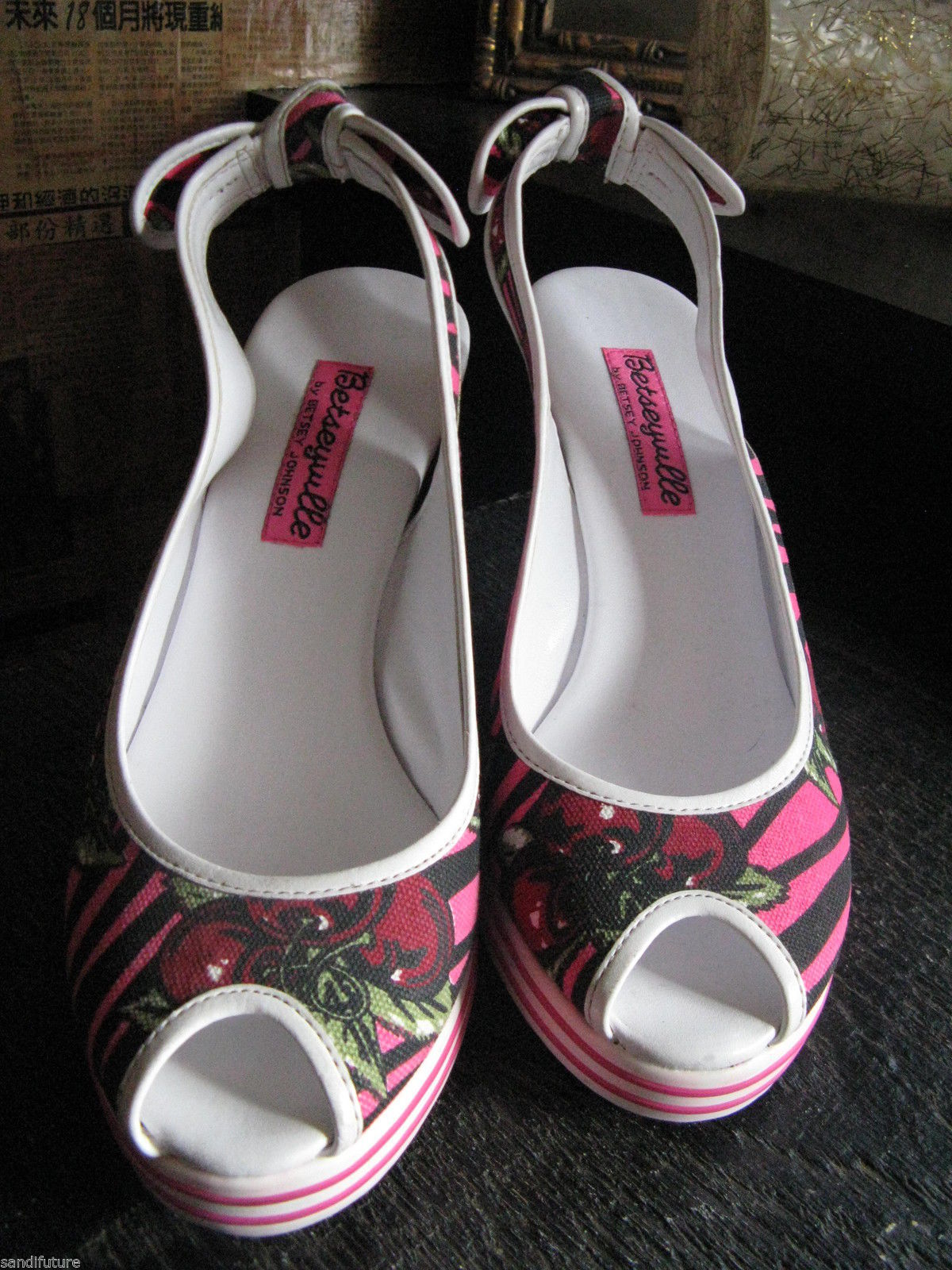 Betsey Johnson Betseyville cherry zebra wedge rockabilly pinup shoes VLV 6.5 UK4