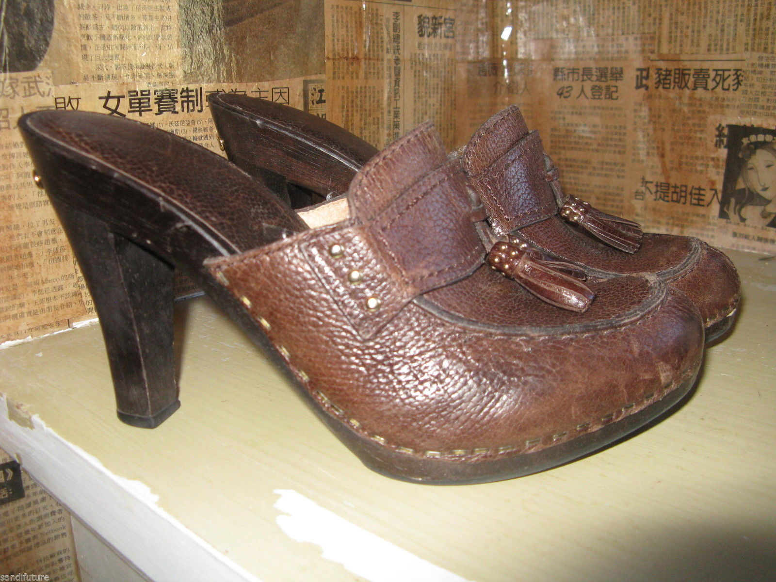 Michael Kors San Antonio platform clog mule wooden tassel shoes 6.5 UK4 36.5
