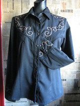 Scully Rockabilly Western Country studded cross goth gothic Stage shirt VLV S image 3