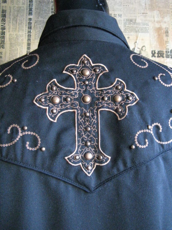 Scully Rockabilly Western Country studded cross goth gothic Stage shirt VLV S