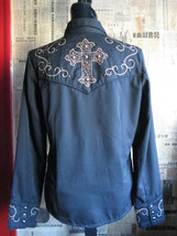 Scully Rockabilly Western Country studded cross goth gothic Stage shirt VLV S image 4