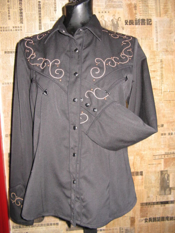 Scully Rockabilly Western Country studded cross goth gothic Stage shirt VLV S image 2