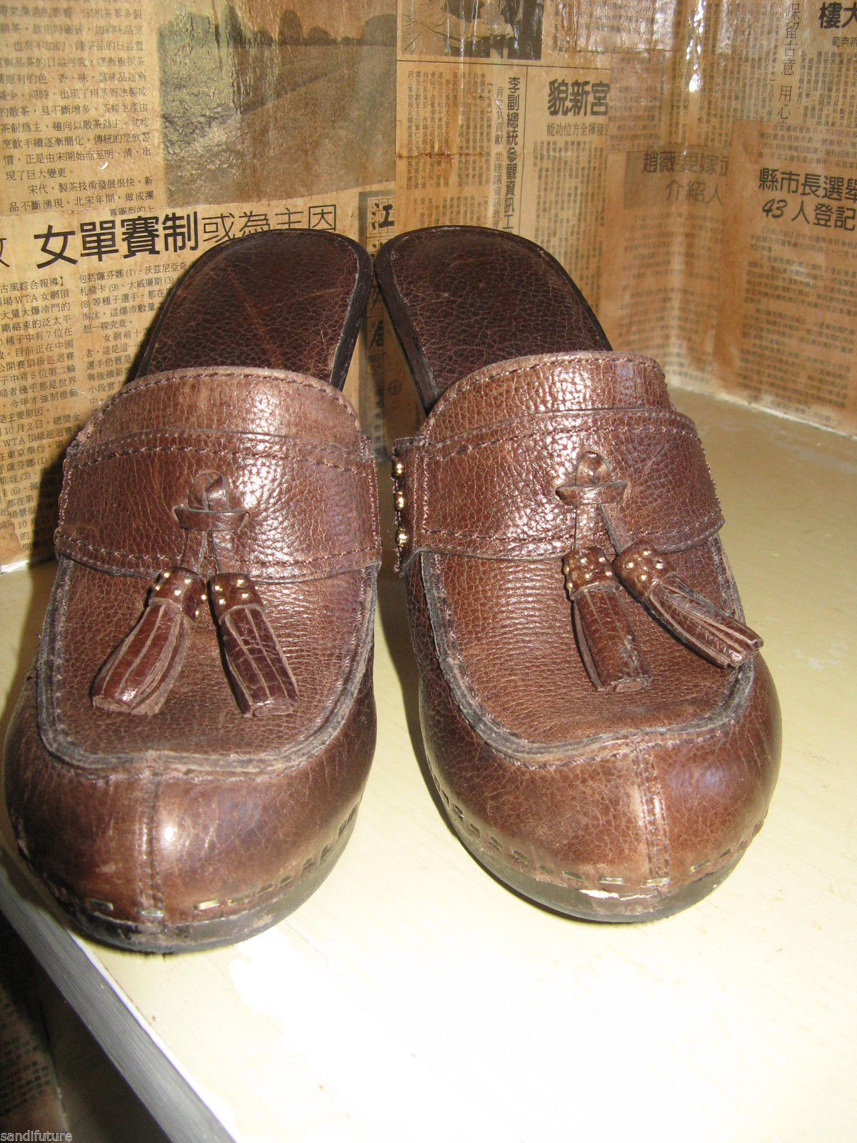 Michael Kors San Antonio platform clog mule wooden tassel shoes 6.5 UK4 36.5 image 2