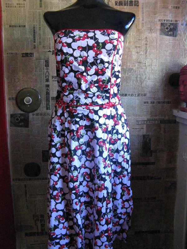 Ruby Rox Pink Cherry Pin-up Rockabilly swing dress 9 VLV