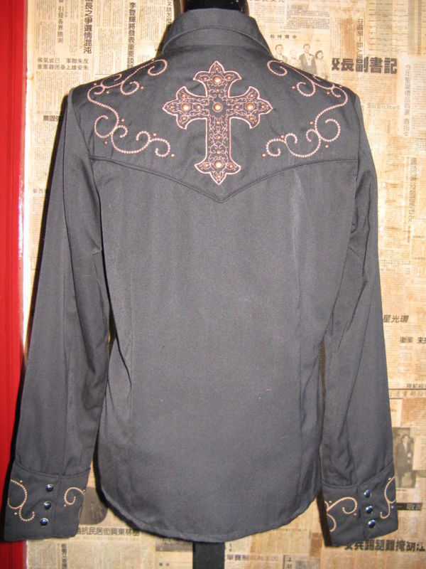 Scully Rockabilly Western Country studded cross goth gothic Stage shirt VLV S image 5