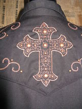 Scully Rockabilly Western Country studded cross goth gothic Stage shirt VLV S image 6