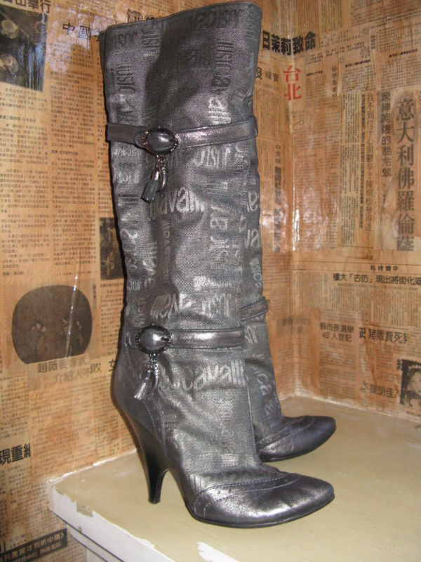 Just Cavalli logo wedge heel silver boots 6 UK3.5 36.5