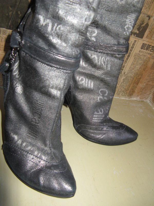 Just Cavalli logo wedge heel silver boots 6 UK3.5 36.5 image 3
