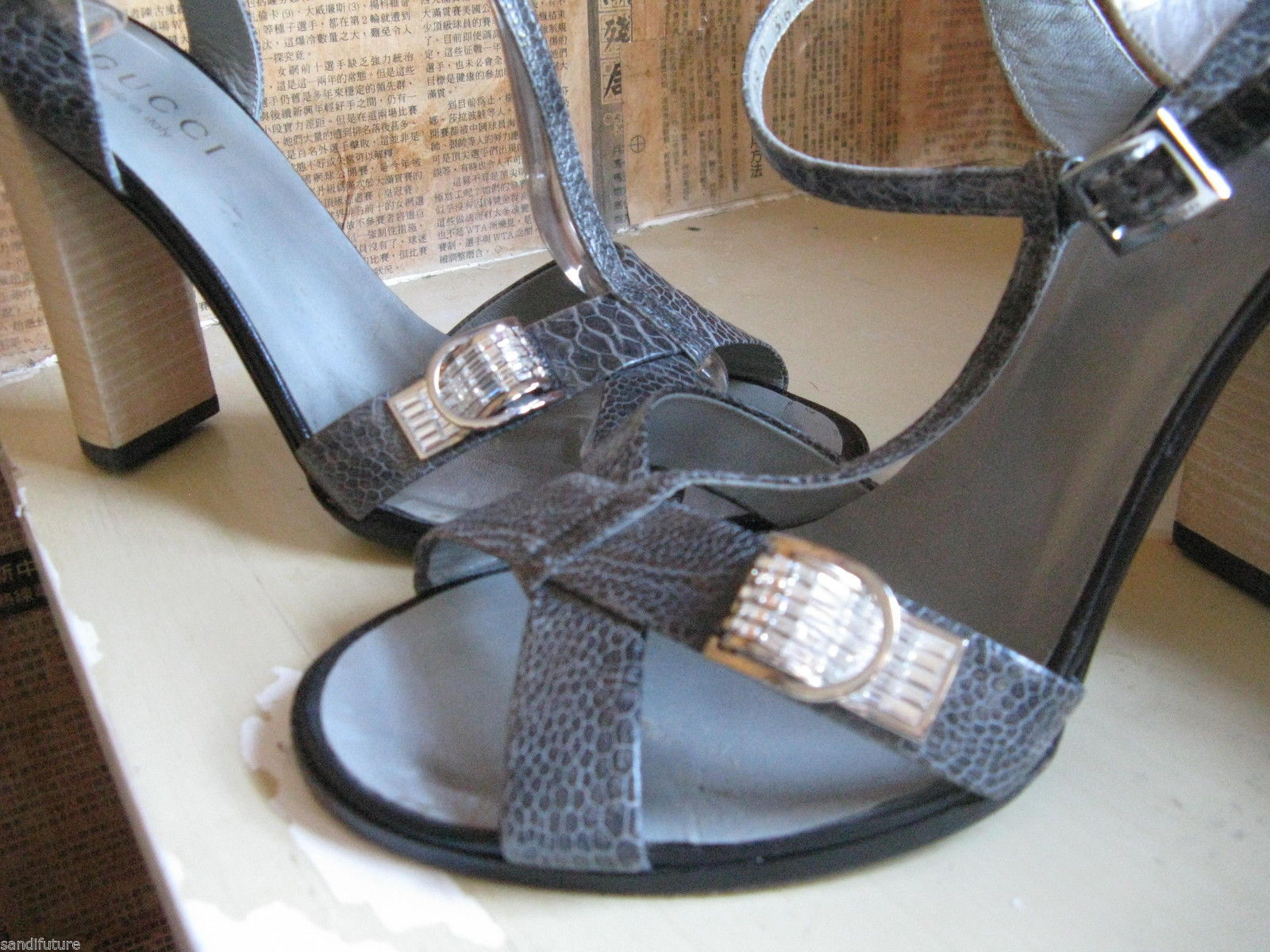 Gucci reptile snake rhinestones crystals bling sandals shoes heels 6.5 UK4 36.5