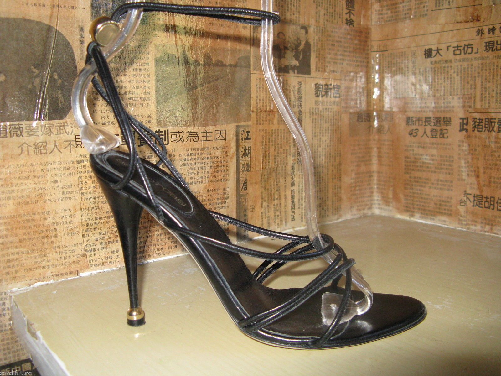 Sergio Rossi Sexy strappy stiletto spike globe heel shoes sandals 6 UK3.5 36