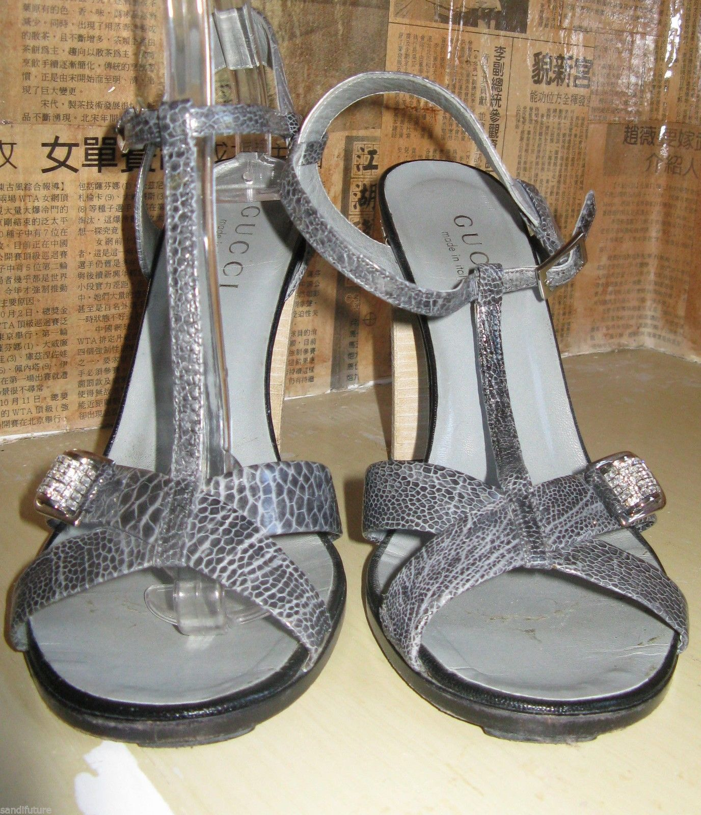 Gucci reptile snake rhinestones crystals bling sandals shoes heels 6.5 UK4 36.5 image 4