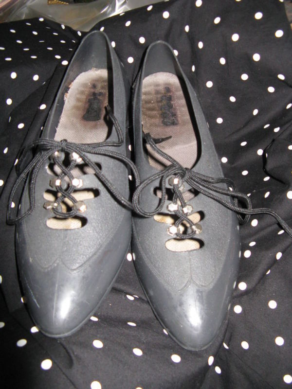 Vintage 80s plastic oxford Grendha Melissa jelly jellies shoes 6 UK3.5 36 image 2