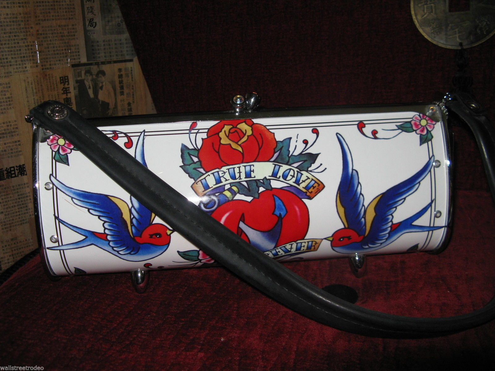 Little Earth Roadflair recycled upcycled tattoo swallow true love handbag VLV image 5