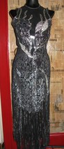 vintage 80s North Beach Leather  leather lace fire flames fringe  dress XS image 1
