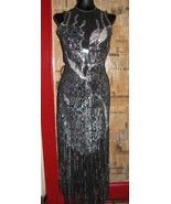 vintage 80s North Beach Leather  leather lace fire flames fringe  dress XS - $1,198.44