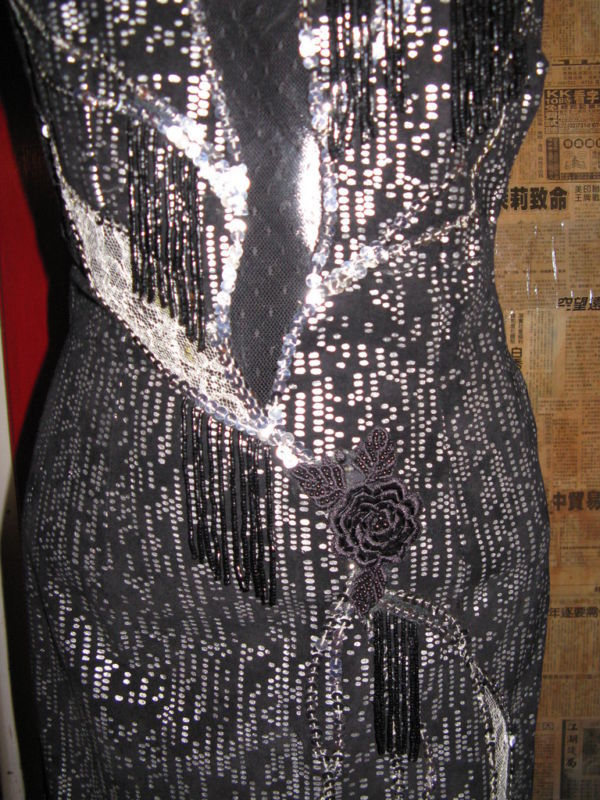 vintage 80s North Beach Leather  leather lace fire flames fringe  dress XS image 6