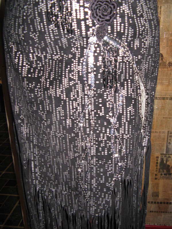 vintage 80s North Beach Leather  leather lace fire flames fringe  dress XS image 5