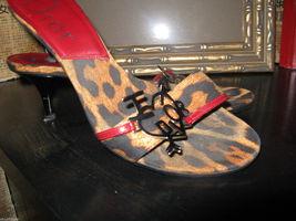 I love Dior Diva logo stiletto leopard runway heel mules slides 7.5 37.5 UK5 VLV - $269.87