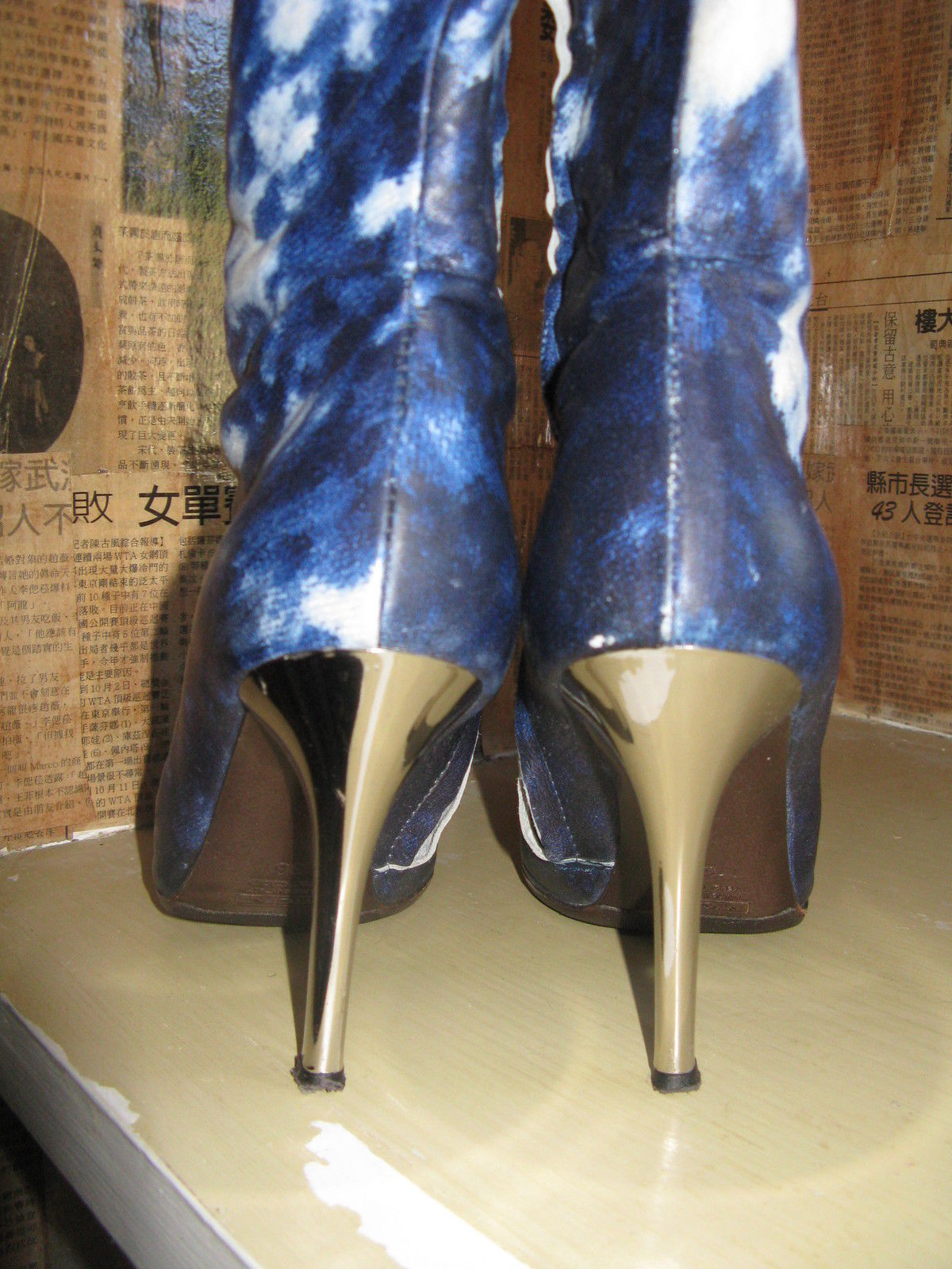 Roberto Cavalli tie dye denim look leather silver chrome heels boots 6 UK3.5 36