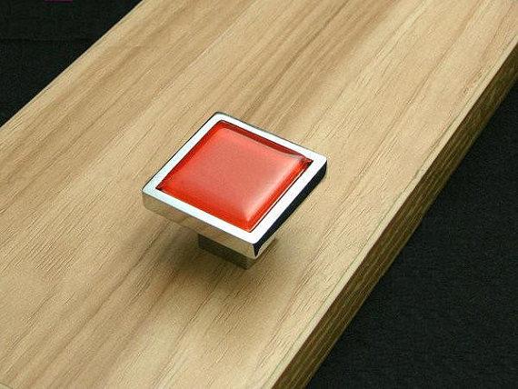 Red Glass Knobs Square Dresser Drawer Knobs Pulls Handles Cabinet Door Knobs image 5