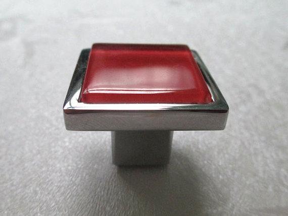 Red Glass Knobs Square Dresser Drawer Knobs Pulls Handles Cabinet Door Knobs image 2