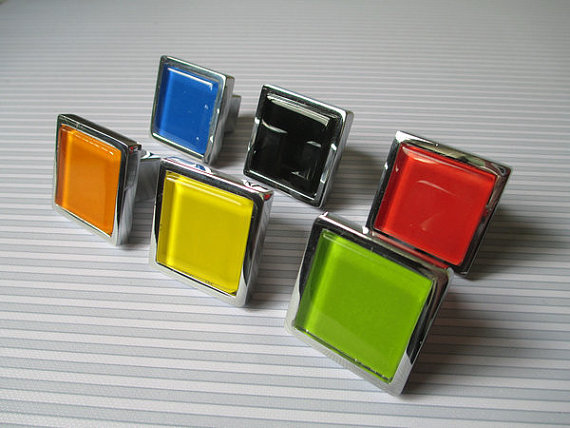 Red Glass Knobs Square Dresser Drawer Knobs Pulls Handles Cabinet Door Knobs image 3