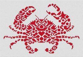 Tribal Crab monochrome cross stitch chart White Willow stitching - $6.30