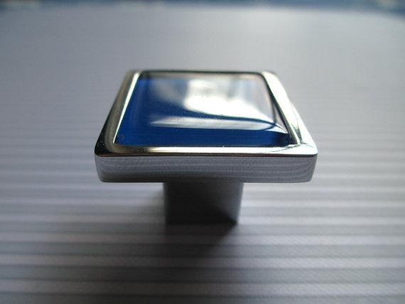 Blue Glass Knobs Square Dresser Drawer Knobs Pulls Handles Cabinet Door Knobs
