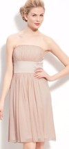 Donna Morgan Chiffon Satin Strapless Noelle Gathered Bodice Dress Nude 12 NWT - $38.32