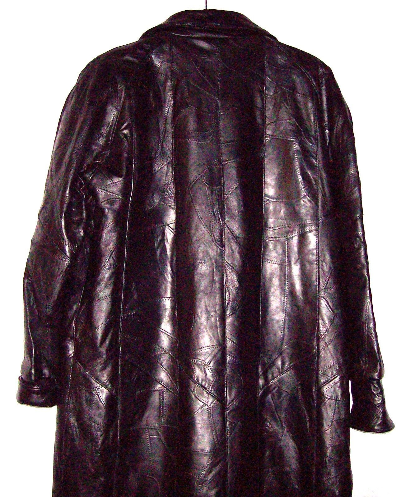 Giovanni Navarre Italian Stone Design Ladies Leather Coat Antiqued Brass Buttons