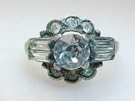 CUBIC ZIRCONIA Round-Cut Vintage RING with Baguettes in STERLING  - Size... - £48.17 GBP