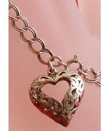 Jezlaine Sterling Silver Filigree Heart Charm Bracelet 925 Vintage Jewelry - $18.00
