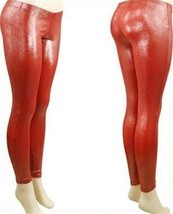 RED SHINY METALLIC LIQUID SHIMMER WET LOOK LEGGING PANT MEDIUM M 5 6 7 8... - $9.99