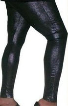 BLACK SHINY METALLIC LIQUID SHIMMER WET LOOK LEGGING PANT SMALL S 1 2 3 4 - $192,11 MXN