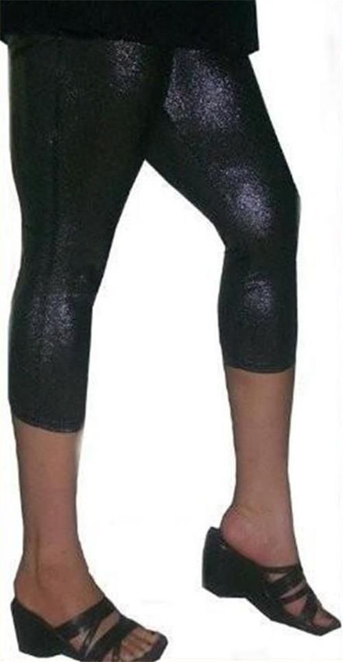 1X 1XL XL 12 13 BLACK CAPRI SHINY METALLIC LIQUID SHIMMER WET LOOK LEGGING PANT - $9.99