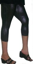 1X 1XL XL 12 13 BLACK CAPRI SHINY METALLIC LIQUID SHIMMER WET LOOK LEGGI... - $9.99