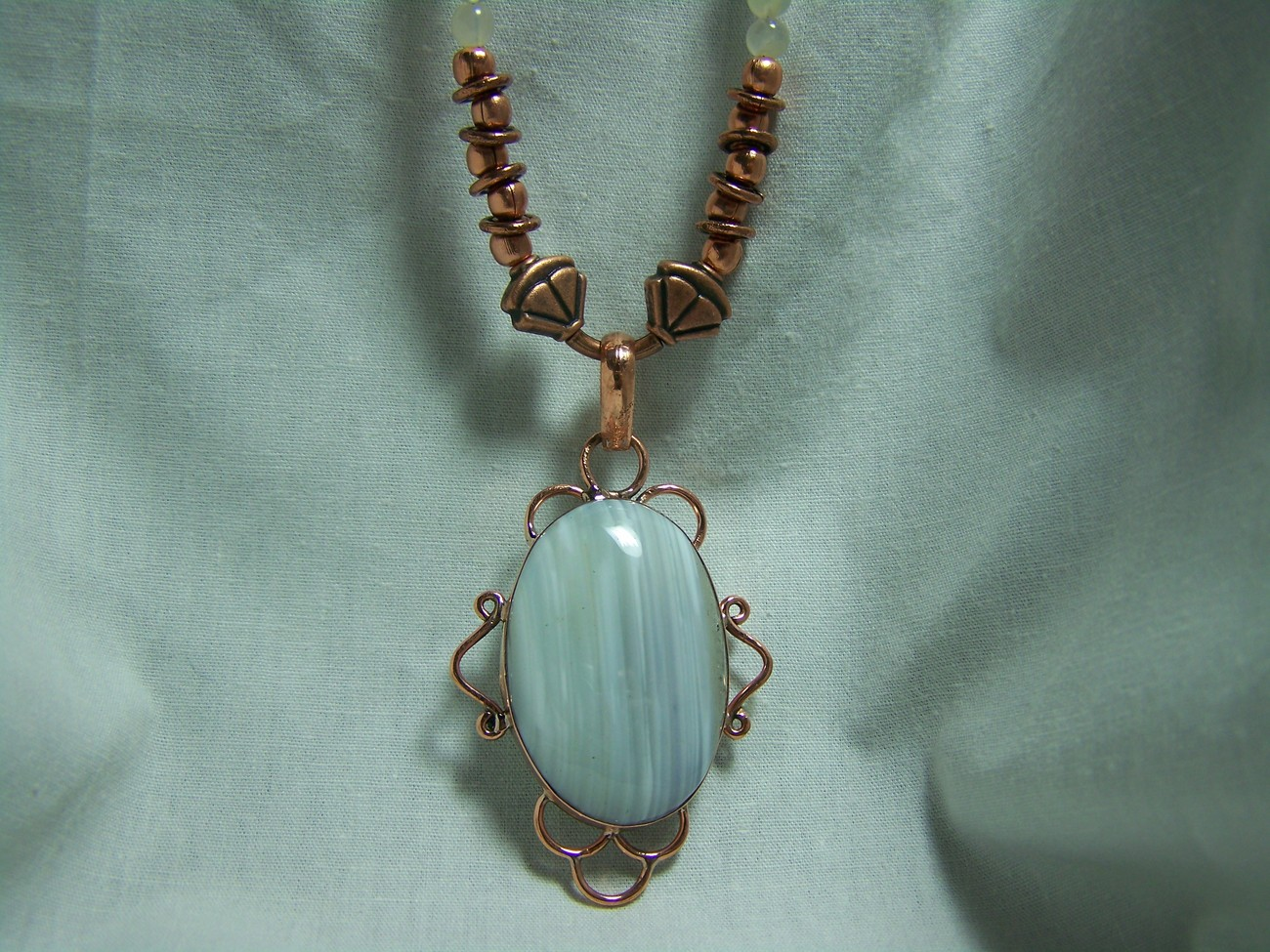 Agate moonstone copper pendant 20inch necklace