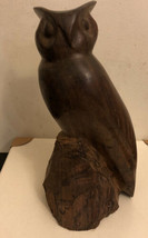 VINTAGE HAND CARVED IRONWOOD OWL SCULPTURE 9-1/4 INCHES TALL - $24.75