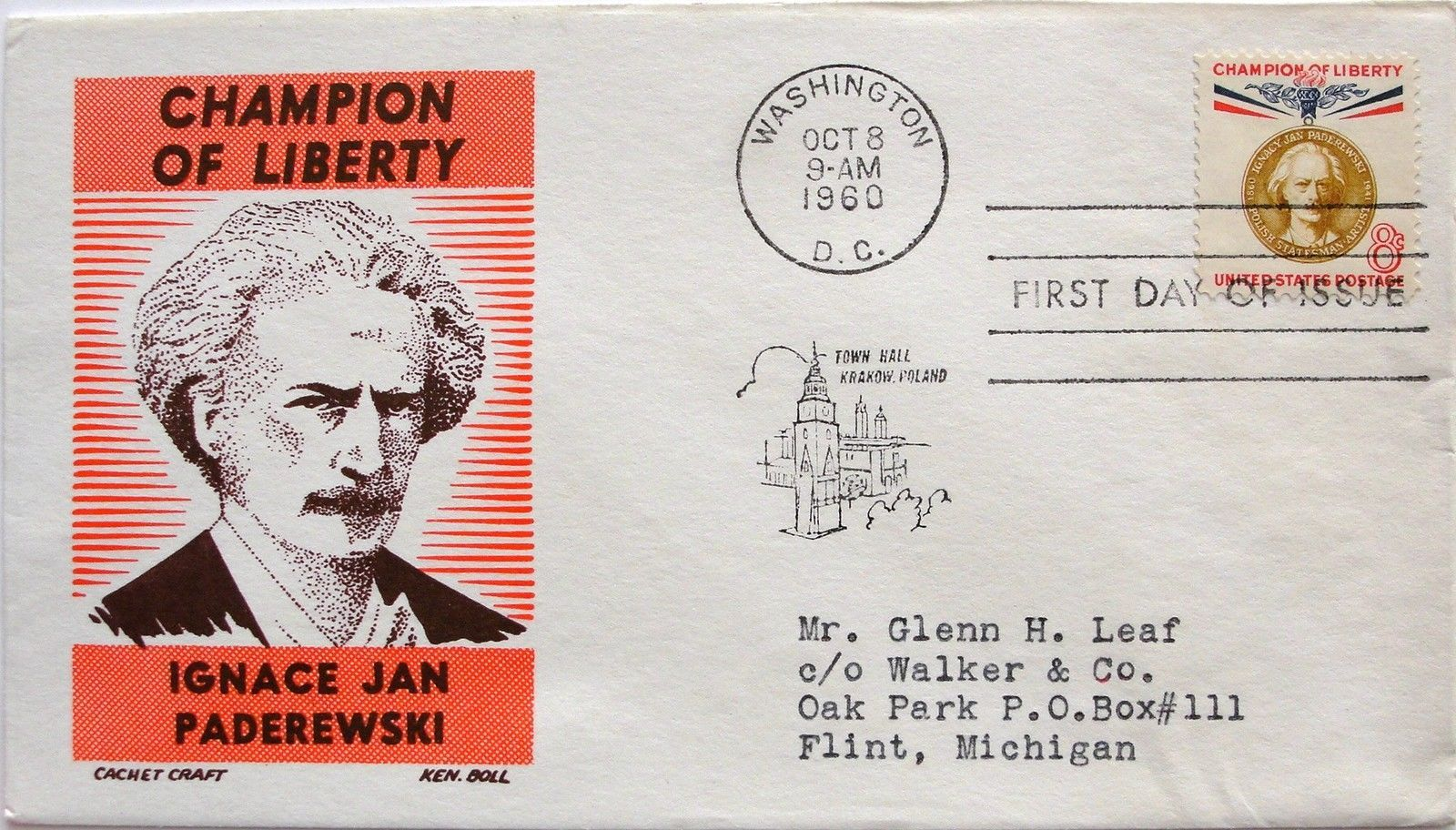 Oct. 8, 1960 First Day of Issue, Ken Boll Cover, 8c Ignace Jan Paderewski #50