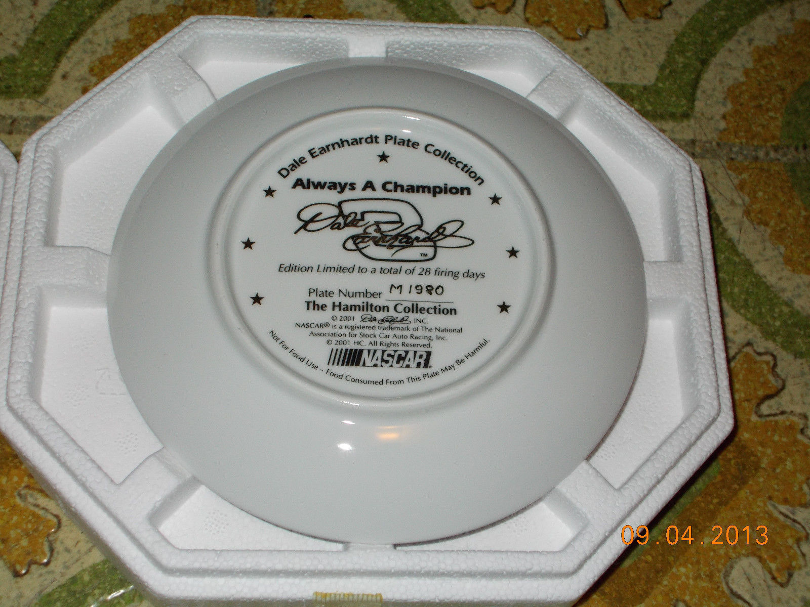 The Hamilton Collection Dale Earnhardt Sr. #3 Nascar Collectors Plate image 2