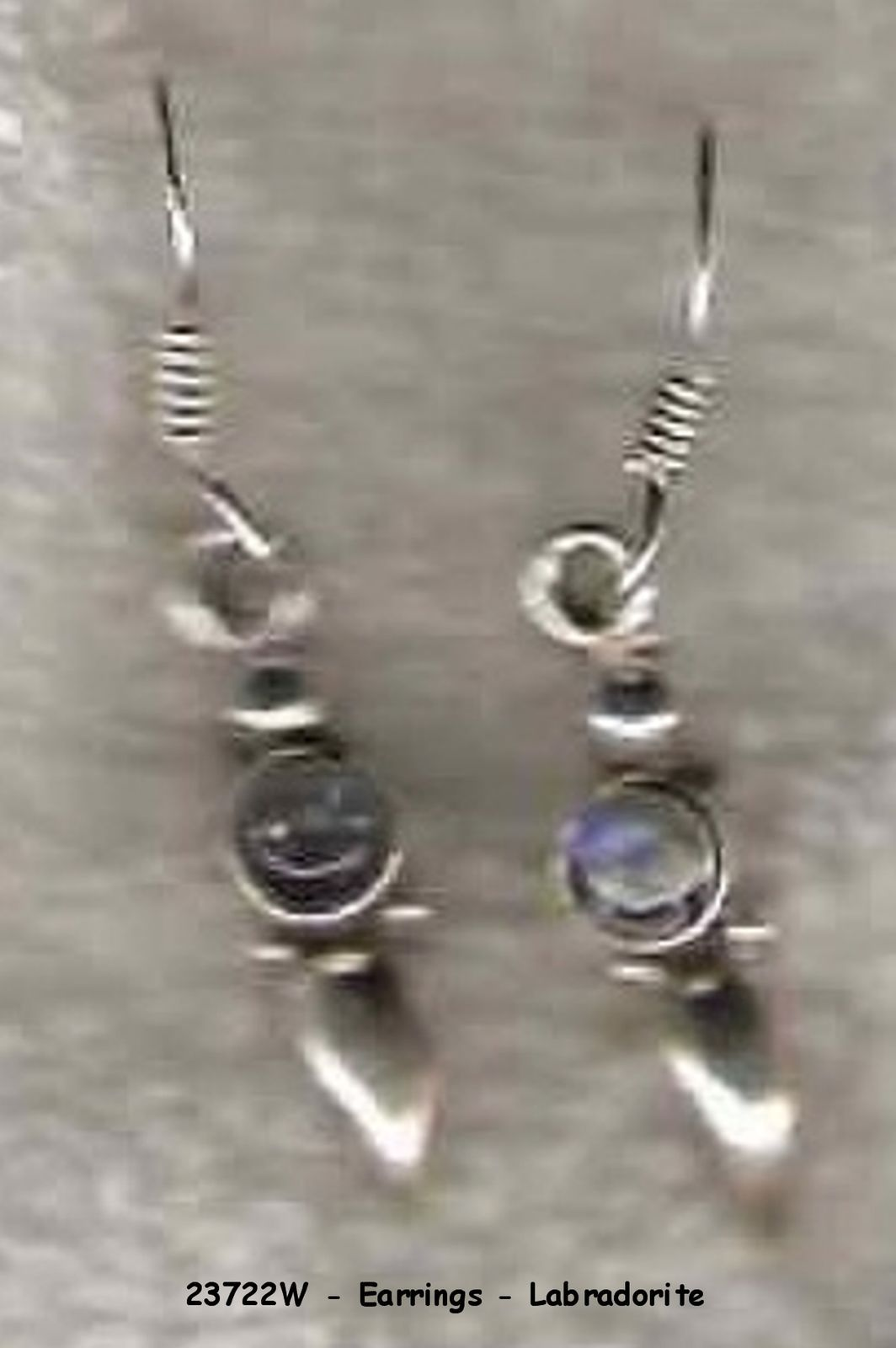 23722W - Earrings - HANDCRAFTED Labradorite Sterling Silver image 1