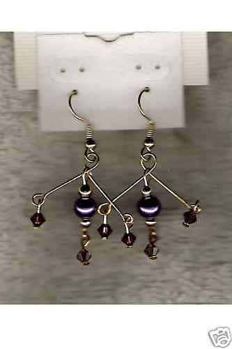 Swarovski Crystal & Purple Glass Pearl Earrings HANDCRAFTED - NEW !