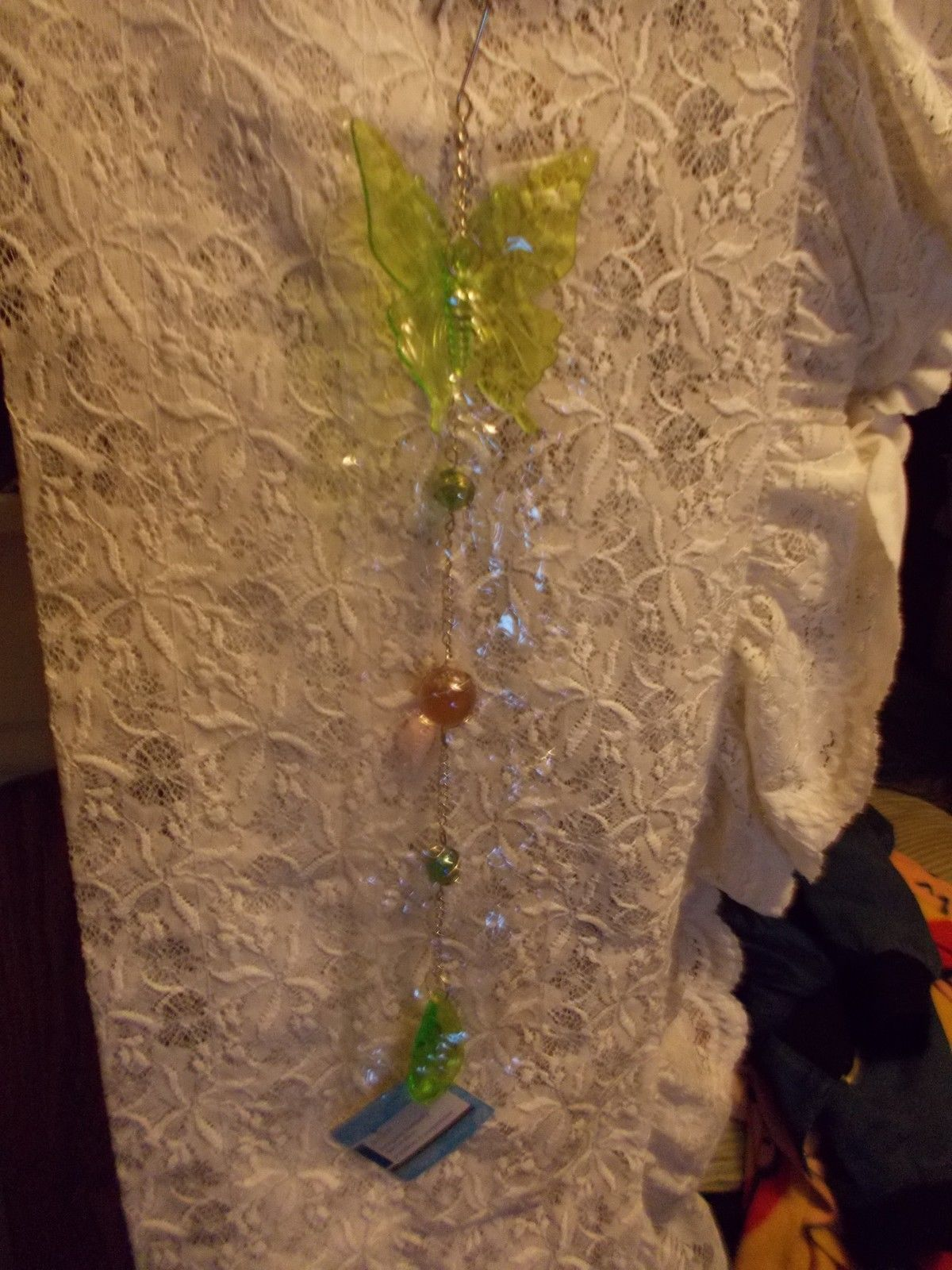 Hanging Butterfly Decoration With Caged Marbles Green Lime Green Lt Topaz Silver