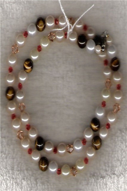 "50900N - Necklace - HANDCRAFTED Tiger Eye & Swarovski Crystal & Faux Pearl - 19"""