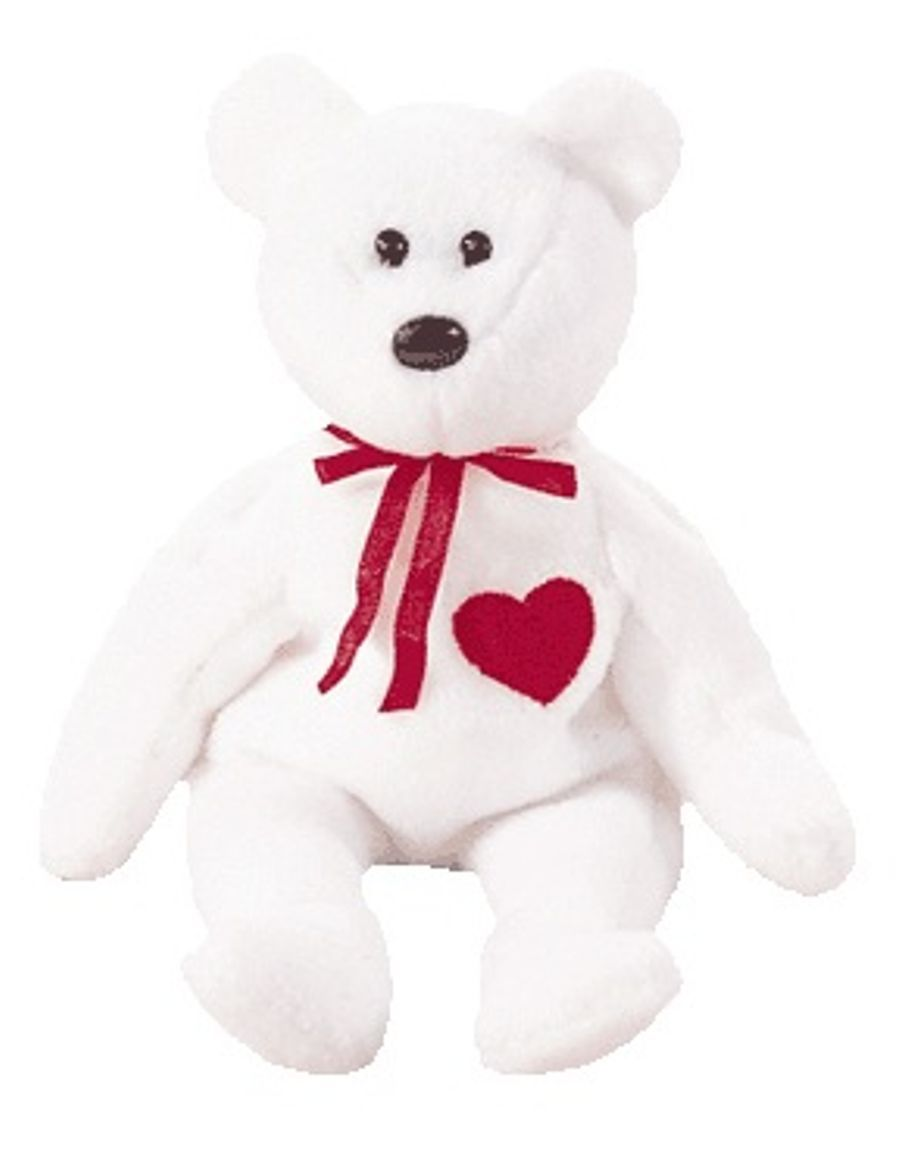 TY BEANIE BABIE VALENTINO THE WHITE & RED VALENTINE TEDDY BEAR TUSH TAG ATTACHED