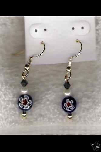 HANDMADE Blue&Red Coin Bead W/ Swarovski Cryst Earrings