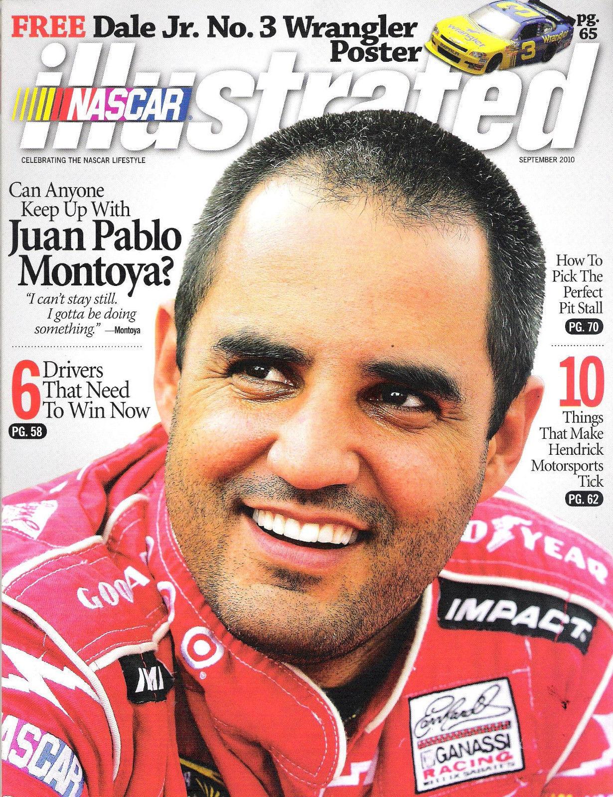 JUAN PABLO MONTOYA 42 NASCAR ILLUSTRATED SEPT 2010 DALE JR NO 3 POSTER INTACT