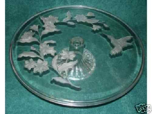 Avon Crystal Hummingbird Cake Plate 24% Lead Crystal BRAND NEW - NEVER USED !